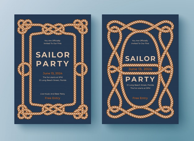 Two nautical poster templates. rope frame border.