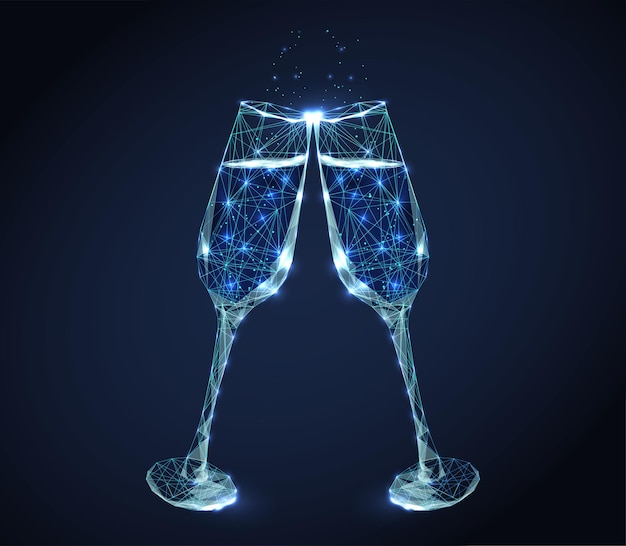 Two neon clink wine glasses with champagne and bubbles.