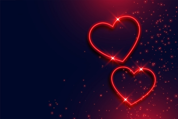 Two neon red hearts background with text space
