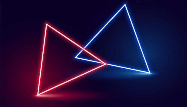 Two neon triangle in red and blue colors