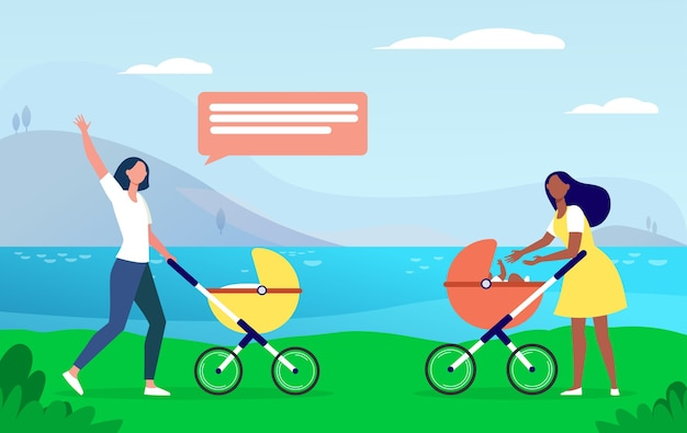 Two new moms walking together. woman with strollers meeting and waving hello flat illustration.