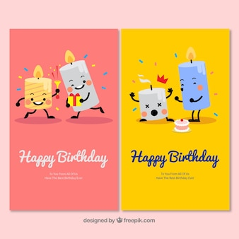 Two nice hand drawn birthday cards with candles