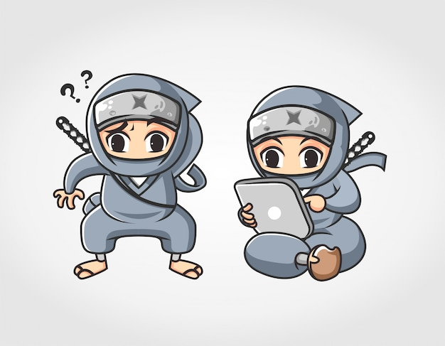 Two ninja wonder and browsing with computer tablet mascot character