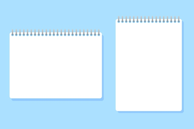 Two notebooks of different sizes placed on blue