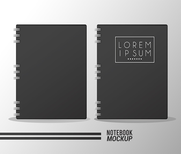 Two notebooks mockup color black.