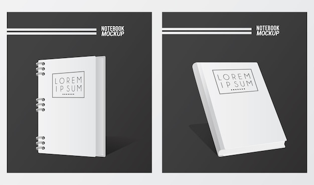Two notebooks mockup color white.