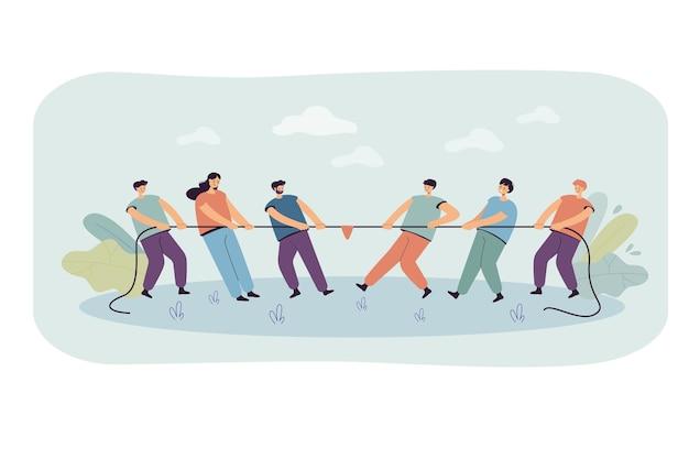 Две офисные группы людей, тянущих веревку, изолировали плоскую иллюстрацию Бесплатные векторы