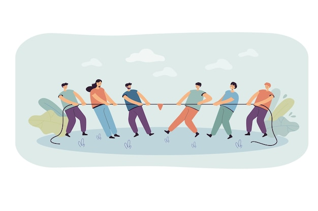 Two office teams of people pulling rope isolated flat illustration