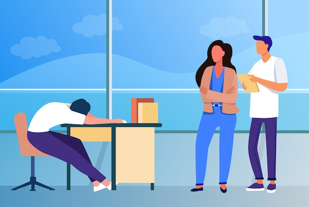 Two office workers looking at sleepy colleagues. exhausted employee sleeping at workplace flat vector illustration. lazy worker, burnout