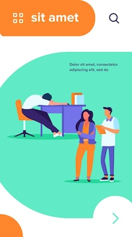 Two office workers looking at sleepy colleagues. exhausted employee sleeping at workplace flat vector illustration