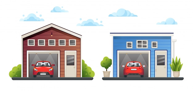 Two open different garages with red cars inside and green plants near, sky with clouds,  illustration.