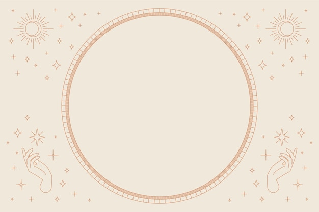Two open hands vector round frame linear style on beige background