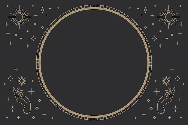 Two open hands vector round frame linear style on black background