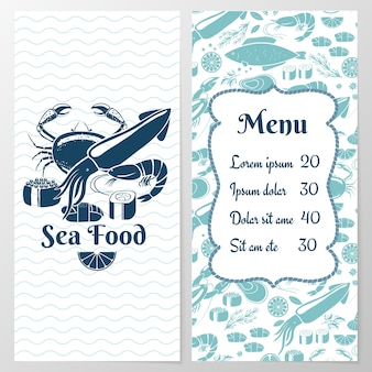 Two paged blue fish menu with graphic and space for text