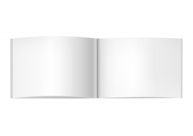 Two-pages opened horizontal magazine mockup