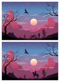 砂漠の馬に乗った過去と現在のカウボーイとバイクに乗ったバイカーの2枚の絵