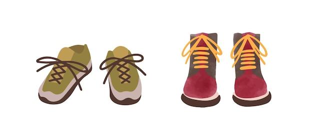 白で隔離の水彩画のスタイルで手描きのカラフルな秋の靴の2つのペア。漫画のスニーカーとブーツの正面図ベクトルフラットイラスト。カジュアルでスタイリッシュな季節の靴。