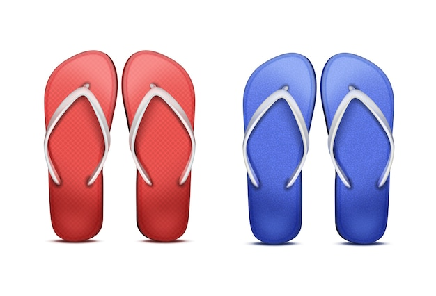 Two pair of red and blue beach flip-flops