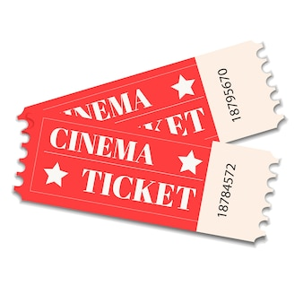 Two, pair vector ticket isolated isolated on white