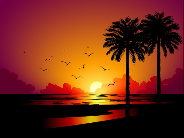 Two palm trees at beach sunset