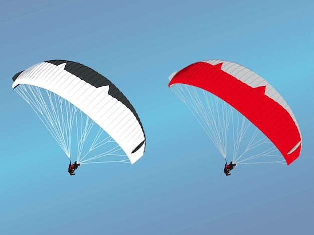 Two paragliding flying