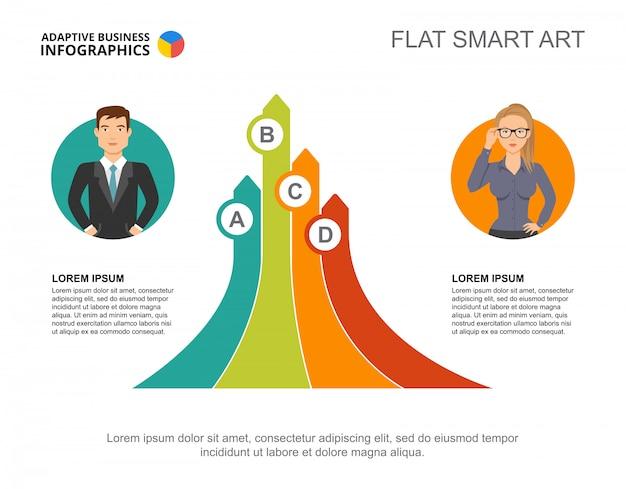 Due partner elaborano il modello di grafico per la presentazione. visualizzazione dei dati aziendali.