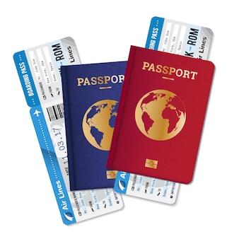Due passaporti con carte d'imbarco biglietti insieme realistico manifesto di pubblicità agenzia di viaggi internazionali