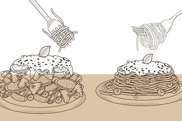 두 가지 파스타 요리 메뉴 음식 프리미엄 벡터