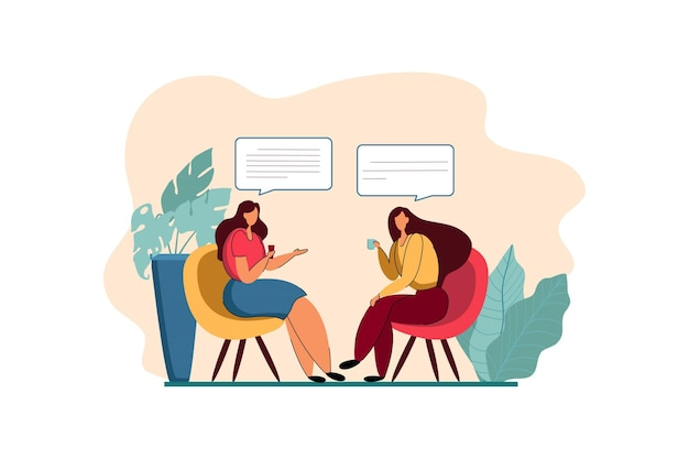Two people in a business discussion web illustration