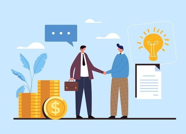 두 사람이 사업가 악수 작업자. 계약 거래 계약은 아이디어 돈 개념을 시작합니다.