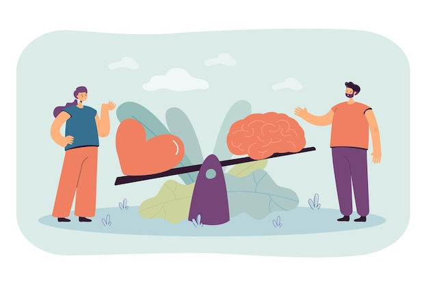 Two people comparing logic and love with seesaw isolated flat illustration
