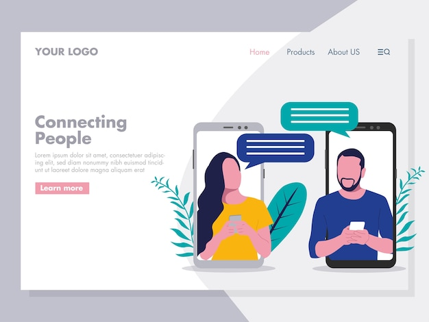 Two people or couple chatting illustration for landing page