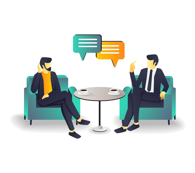 Two people discussing business investment on the sofa