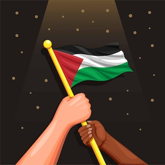 Two people in diversity race holding palestine flag
