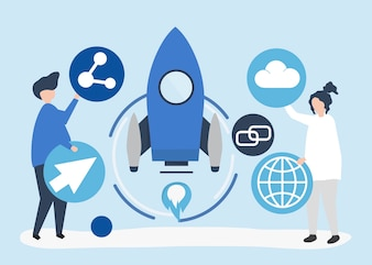 Two people holding startup technology icons illustration