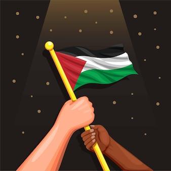 팔레스타인 국기를 들고 다양성 인종 두 사람