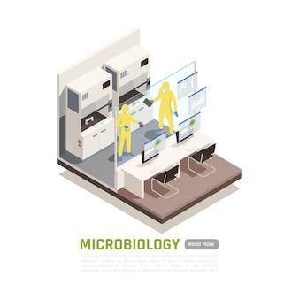 미생물학 실험실 배너에서 실험을 수행하는 보호 복을 입은 두 사람