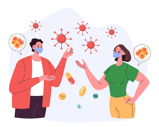 Two people man woman characters have meeting and talking in protective face masks pandemic quarantine protective concept vector flat cartoon graphic illustration