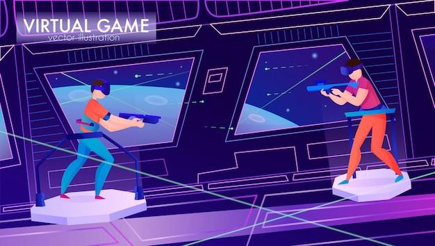 Два человека играют в игру в виртуальной реальности очки горизонтальный мультфильм