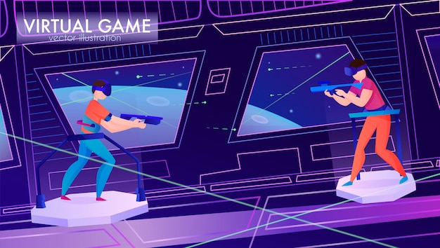 Two people playing game in virtual reality glasses horizontal cartoon
