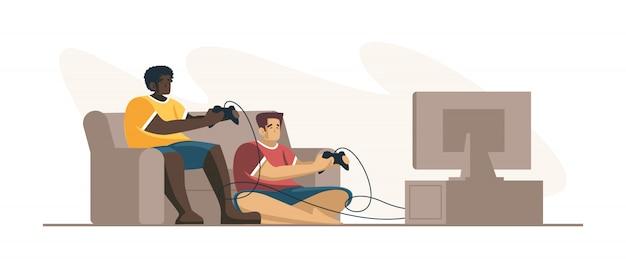 Два человека профессиональных геймеров, удерживая контроллер колодки, играя в видеоигры на экране телевизора. игрок в киберспорт, концепция профессиональных геймеров. шаблон заголовка или нижнего колонтитула баннера. масштабируемая и редактируемая иллюстрация.
