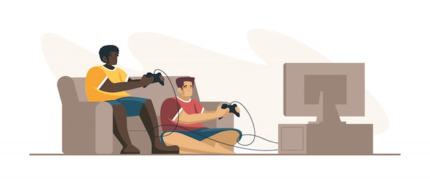 Two people professional gamers holding pad controller playing video game at tv screen. e-sports player, pro gamers concept. header or footer banner template. scalable and editable illustration.