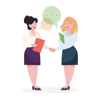 合意の結果、二人は握手。成功した協力。幸せなビジネスマン。漫画のスタイルのイラスト