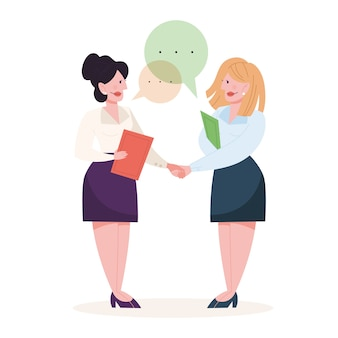 Two people shake hands as a result of agreement. successful cooperation. happy businessman.   illustration in cartoon style