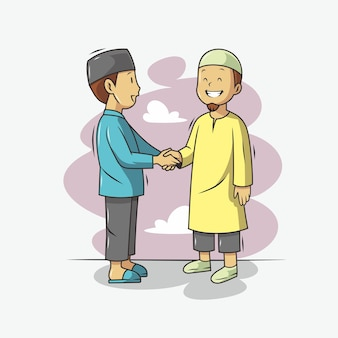 Two people shaking hands illustration