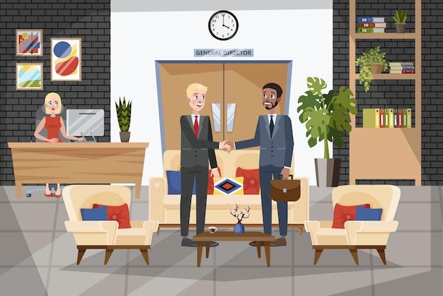 Два человека пожимают руки. бизнес сделка