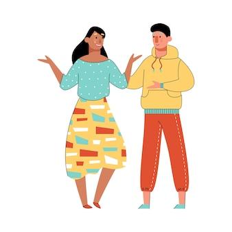 대화를 나누는 행복한 만화 커플을 말하는 두 사람