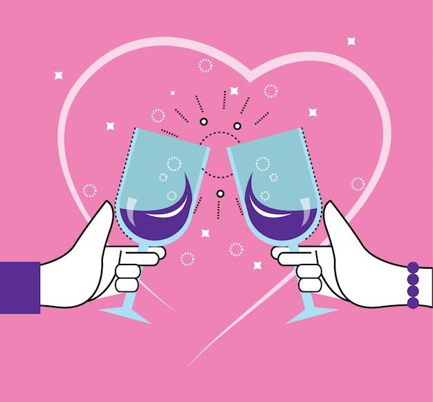 Два человека поджаривают бокалами. сердечная линия в фоновом режиме. день святого валентина, любовник, знакомства. плоские тонкие линейные элементы дизайна. векторные иллюстрации