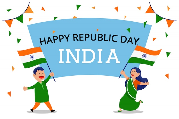 Two people waving flag celebrate india republic day