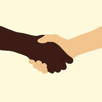 Two people with different skin colors shake hand on beige background flat vector ilustration